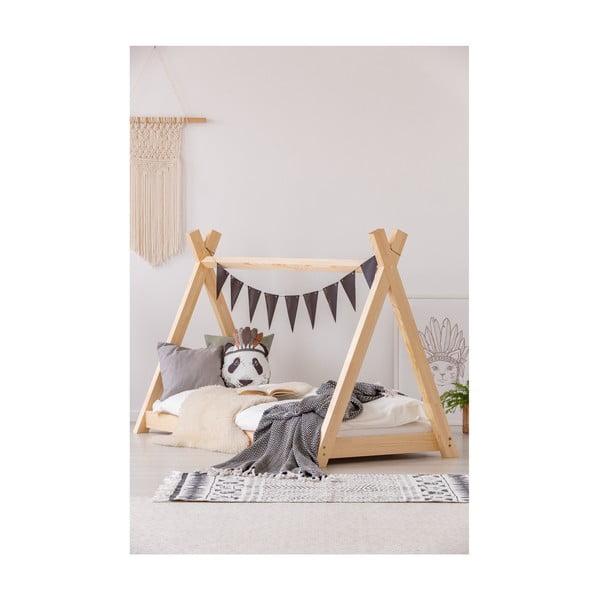Cadru pat din lemn de pin, în formă de căsuță Adeko Mila TP, 90 x 200 cm