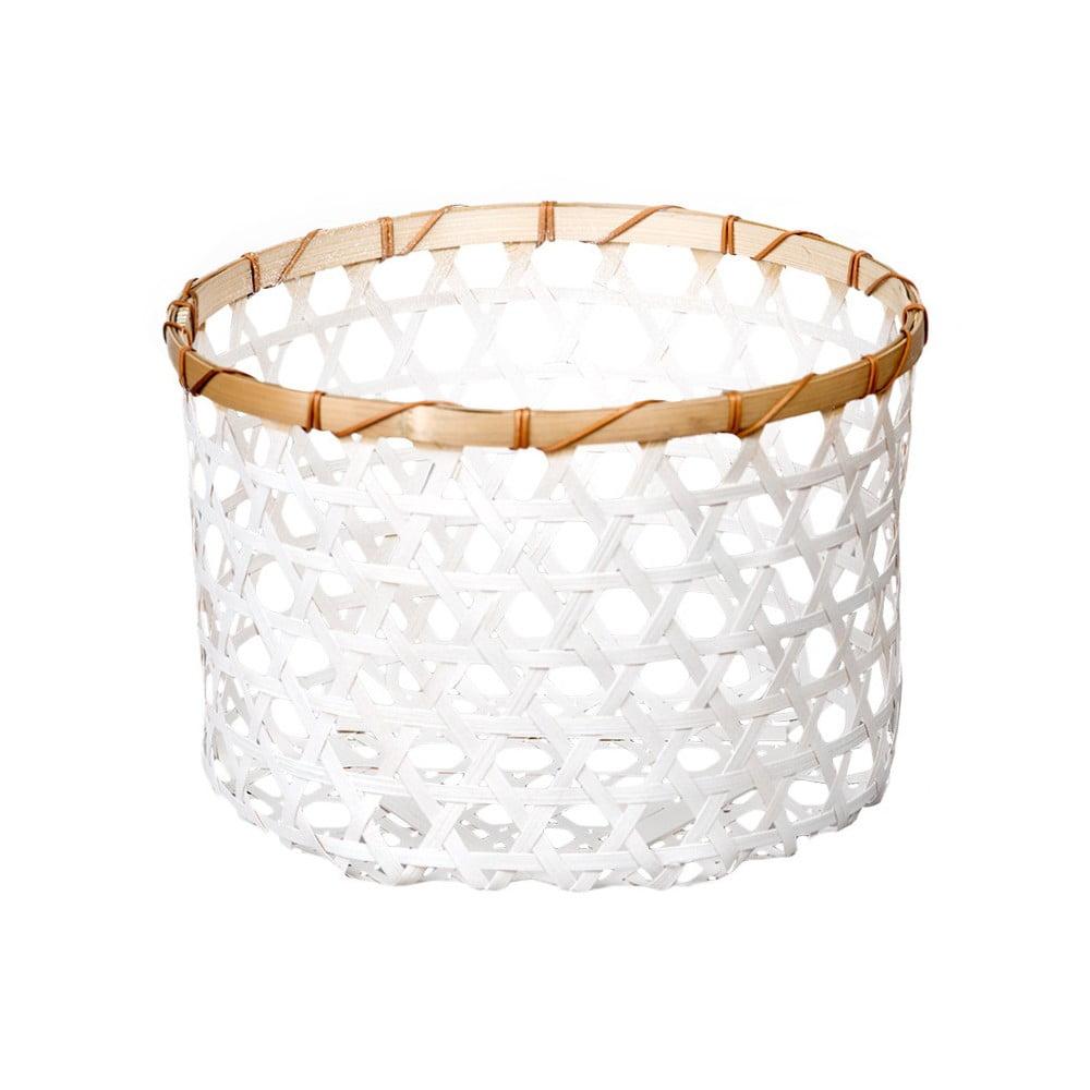 Bílý bambusový košík a'miou home Shadows, ⌀ 33 cm
