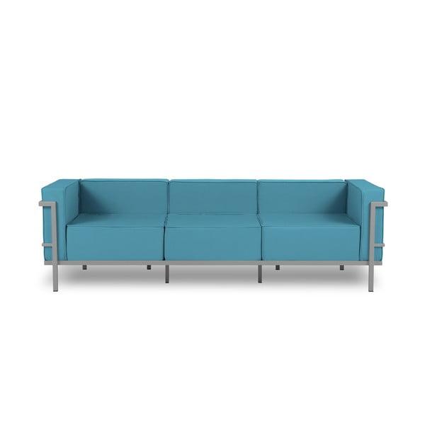 Cannes kék háromszemélyes kültéri kanapé szürke kerettel - Calme Jardin