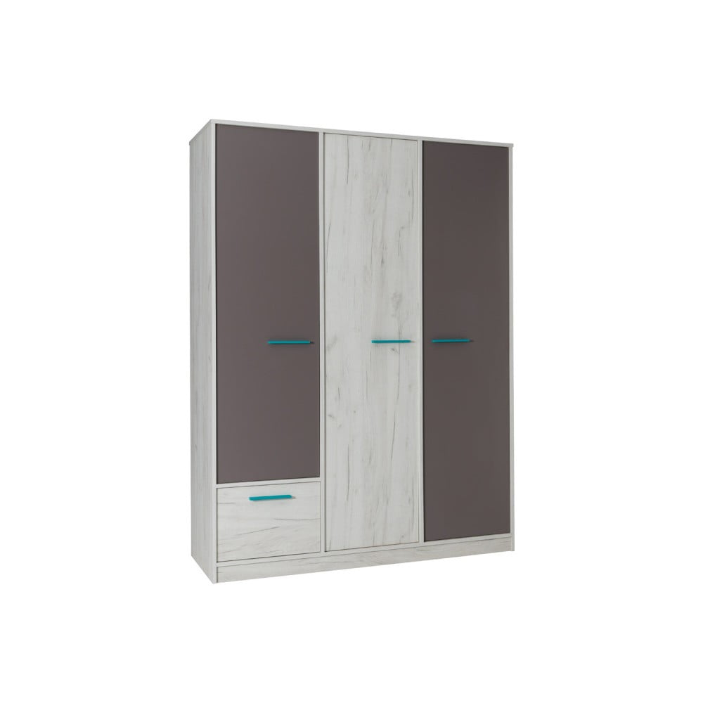 Třídveřová šatní skříň v dekoru bílého dubu se šedými detaily Maridex Rest