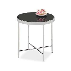 Odkládací stolek se skleněnou deskou a kovovou konstrukcí v barvě chromu Signal Gina, ⌀43cm