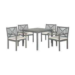 Šedý set dřevěného venkovního stolu a židlí Safavieh Riva