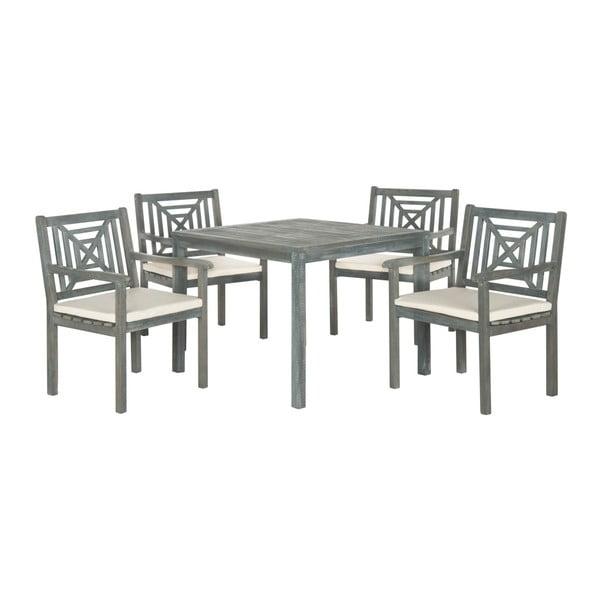 Šedý set zahradního stolu a židlí z akátového dřeva Safavieh Riva