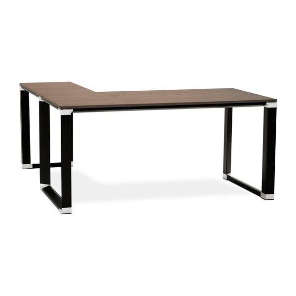 Čierny pracovný rohový stôl s doskou v dekóre orechového dreva Kokoon Warner