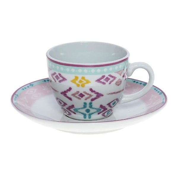 Set porcelánových hrnků a podšálků Romantic, 6 ks (100 ml)