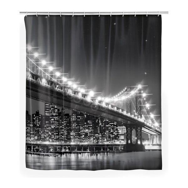 Led Brooklyn Bridge szürke zuhanyfüggöny, 180 x 200 cm - Wenko