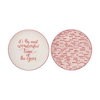 Set 2 farfurii din gresie ceramică cu motive de Crăciun Bloomingville Joy, ⌀ 20 cm imagine