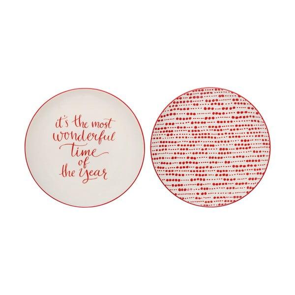 Set 2 farfurii din gresie ceramică cu motive de Crăciun Bloomingville Joy, ⌀ 20 cm