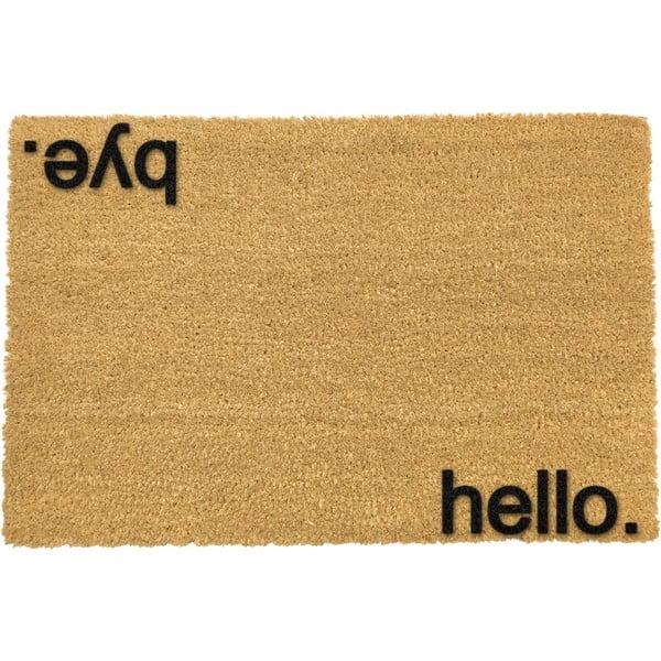 Černá rohožka z přírodního kokosového vlákna Artsy Doormats Hello,Bye, 40x60cm