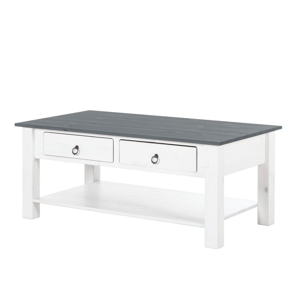 Bílý konferenční stolek z borovicového dřeva se šedou deskou Støraa Inga