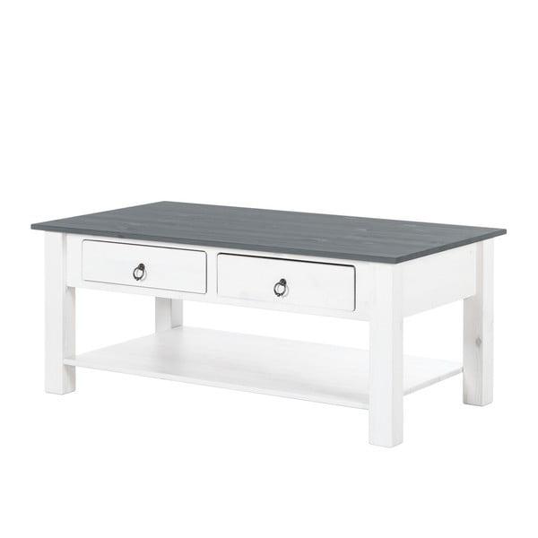 Inga fehér dohányzóasztal fenyőfából szürke asztallappal - Støraa