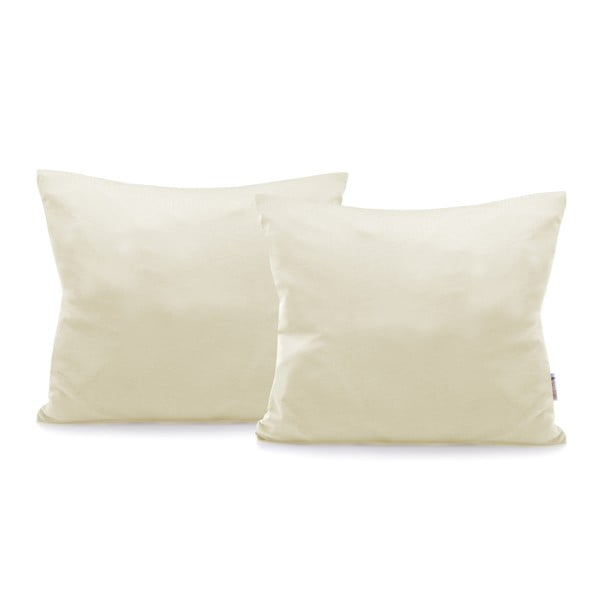 Komplet 2 szarobeżowych bawełnianych poszewek na poduszki DecoKing Amber Beige, 50x60 cm