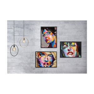 Sada 3 nástěnných obrazů Tablo Center Pop Art