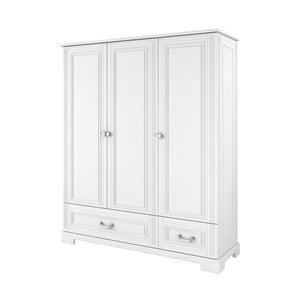 Bílá třídveřová šatní skříň BELLAMY Ines