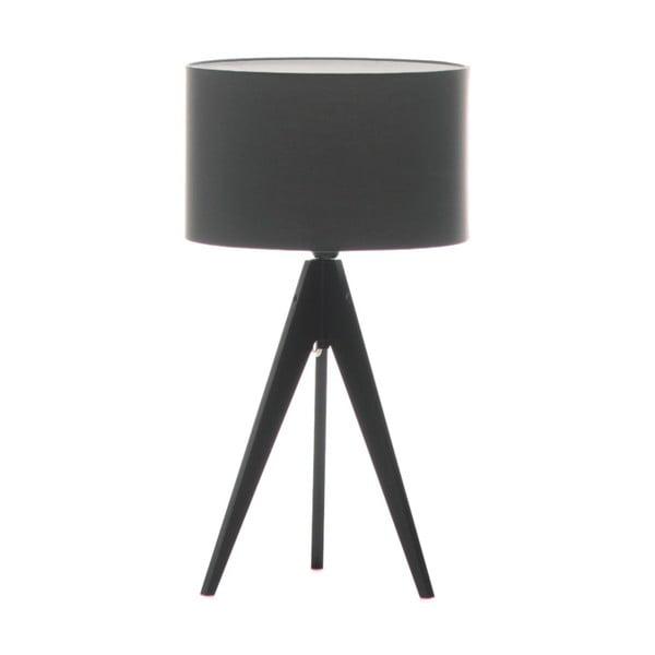 Tmavě šedá stolní lampa Artist, černá lakovaná bříza, Ø 33 cm