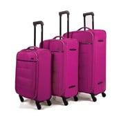 Sada 3 tmavě růžových cestovních kufrů na kolečkách Arsamar Davis