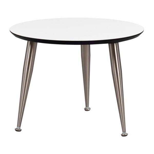 Bílý konferenční stolek s nohami ve stříbrné barvě Folke Strike, výška 47cmx∅ 56cm