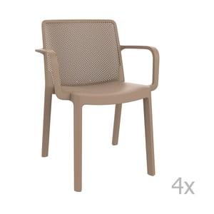 Sada 4 béžových zahradních židlí s područkami Resol Fresh