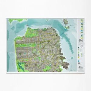 Zelená mapa San Francisca The Future Mapping Company Street Map, 100x70cm