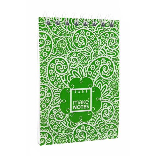 Zelený bloček na poznámky A7 Makenotes Paisley One, 64 listů