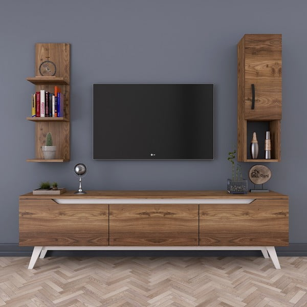 Zestaw 2 półek i szafki pod TV w dekorze drewna Rani