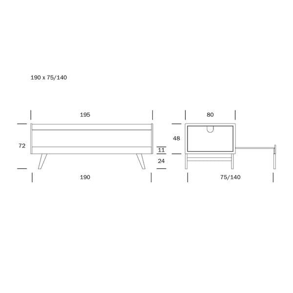 Bílá ručně vyráběná konstrukce rozkládací pohovky z březového dřeva Kiteen Notte, 190x75cm
