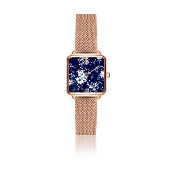 Dámske hodinky s remienkom z antikoro ocele v ružovozlatej farbe Emily Westwood Square