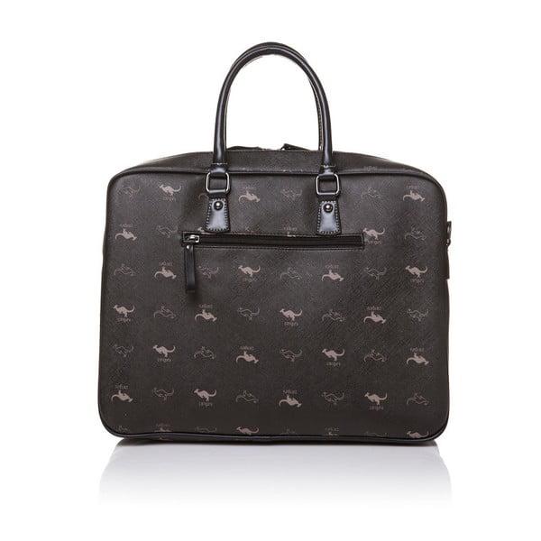 Kožená kabelka do ruky Canguru Louis, černá
