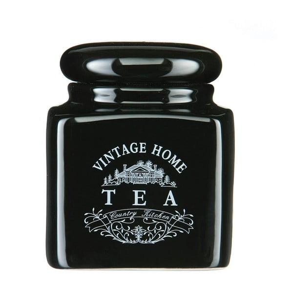 Czarny pojemnik na herbatę z ceramiki Premier Housewares Vintage Home