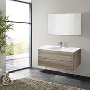 Koupelnová skříňka s umyvadlem a zrcadlem Flopy, dekor dubu, 100 cm