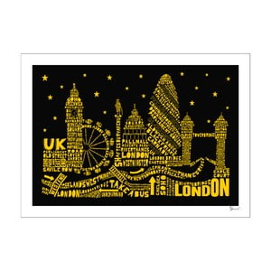 Plakát London Black&Yellow, 50x70 cm