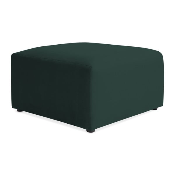 Tmavě zelená třímístná modulová pohovka s podnožkou Vivonita Velvet Cube