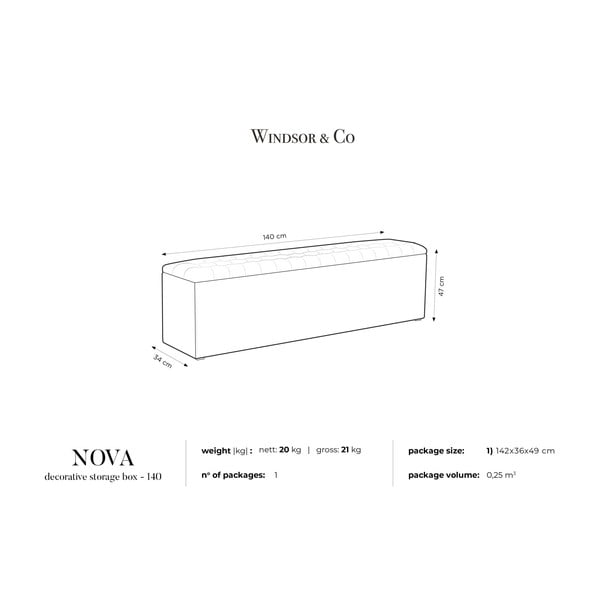 Šedý otoman s úložným prostorem Windsor & Co Sofas Nova, 140 x 47 cm