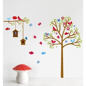 Samolepka na stěnu Strom a ptáčci, 60x90 cm