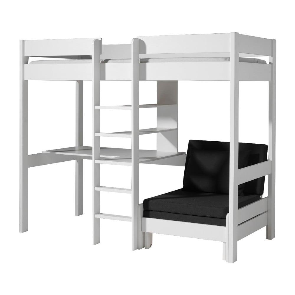 Bílá postel s prostorem na stolek a křeslem Vipack Highsleeper