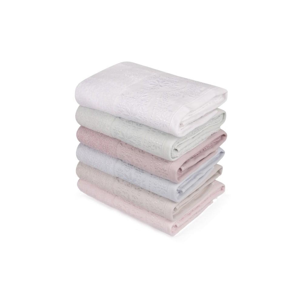 Sada šesti ručníků v pastelových barvách Pastela, 90 x 50 cm