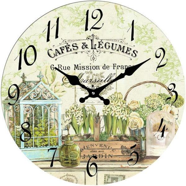 Skleněné hodiny Cafés & Legumes, 30 cm