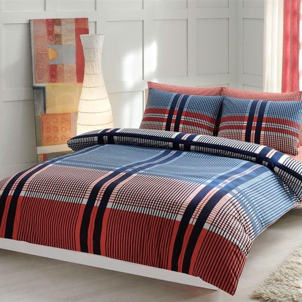 Povlečení Blue and Red Lines s prostěradlem, 160x220 cm