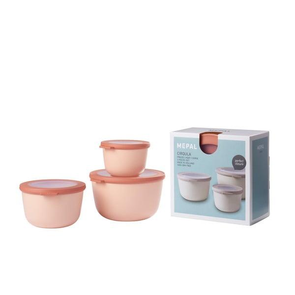 Set 3 cutii pentru gustări Rosti Mepal Cirqula Nordic, roz