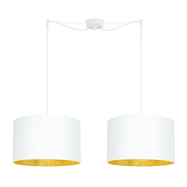 Bílé dvojité stropní svítidlo s vnitřkem ve zlaté barvě Sotto Luce Mika