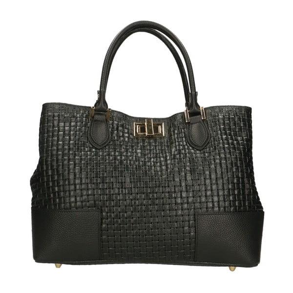 Černá kožená kabelka Chicca Borse Pullioto