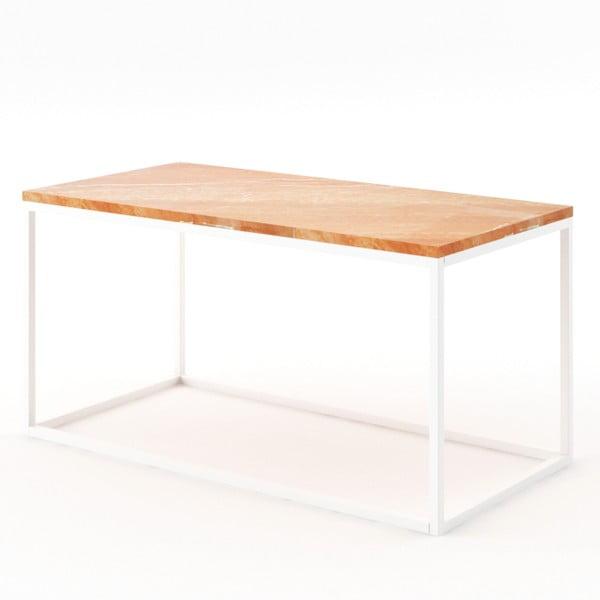 Velký béžový konferenční stůl z mramoru s bílým podnožím Absynth Noi Spain