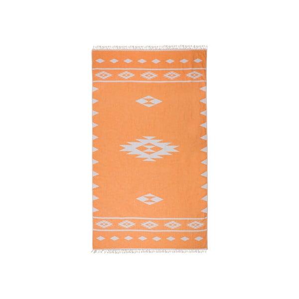 Oranžová oboustranná hammam osuška Begonville Alpha, 100x175cm