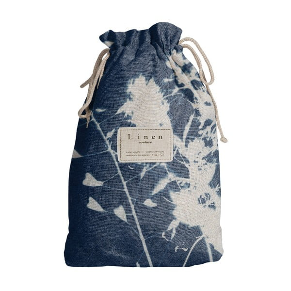 Worek na akcesoria podróżnicze z domieszką Inu Linen Couture Blue Flowers, dł. 44 cm