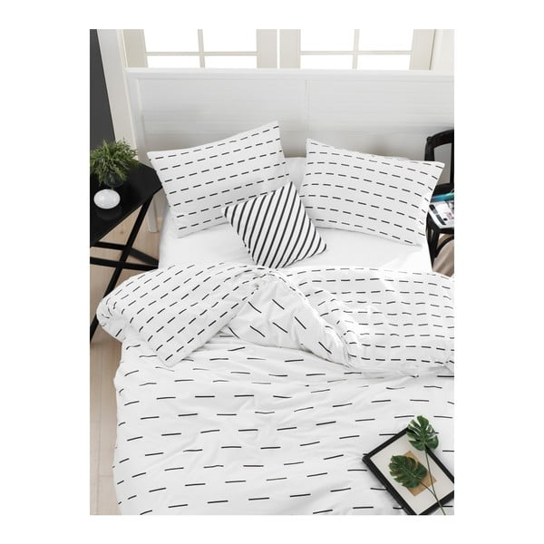 Lenjerie de pat cu cearșaf din bumbac ranforce Mijolnir Cubuk White, 200 x 220 cm