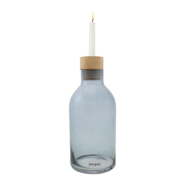 Váza/svícen Bottle 25,5 cm, modrá
