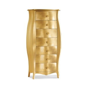 Comodă din lemn cu 7 sertare Castagnetti, auriu