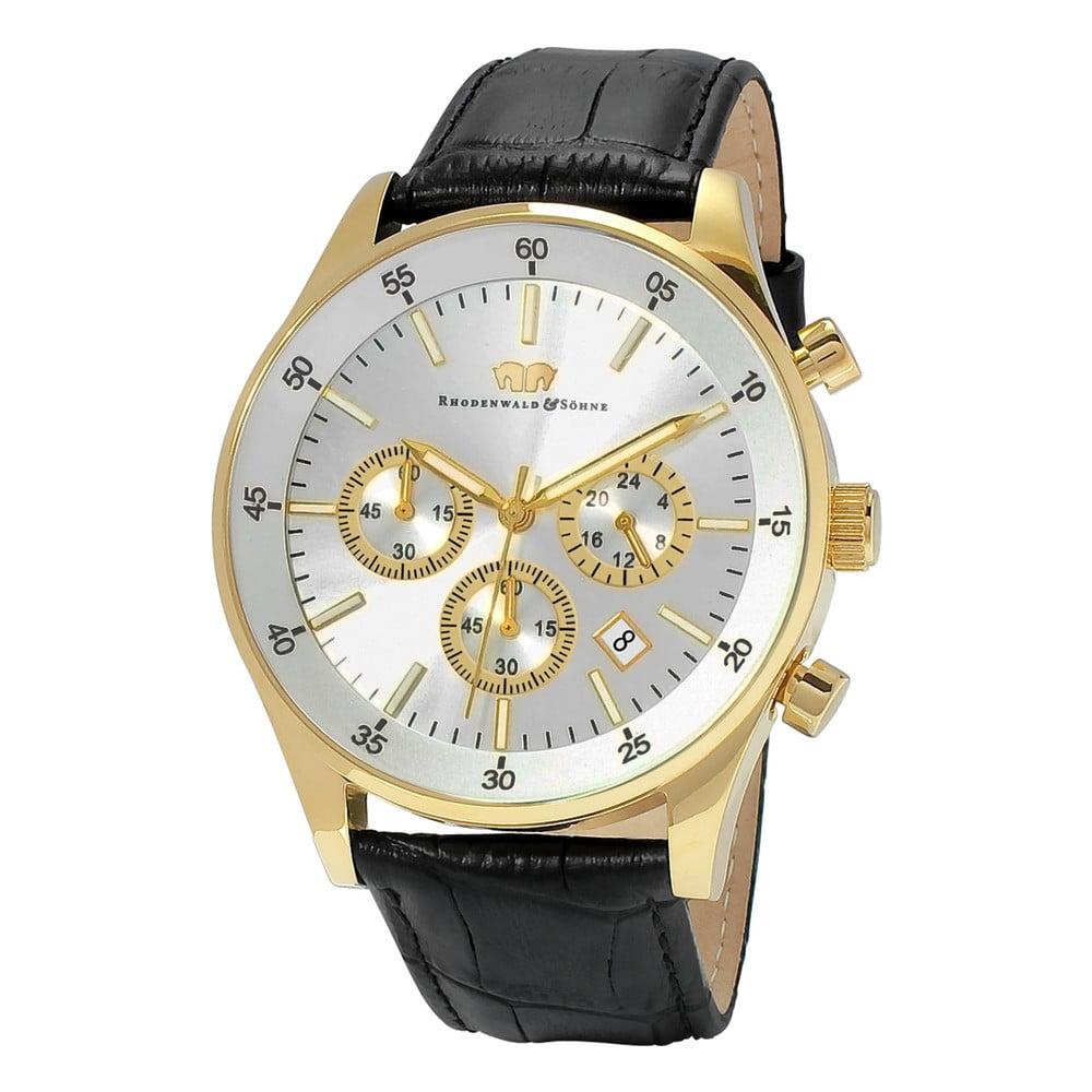 Černé pánské hodinky s ciferníkem zlaté barvy Rhodenwald & Söhne Goodwill