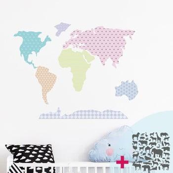 Set autocolante de perete Ambiance World Map Pastel with Animals de la Ambiance