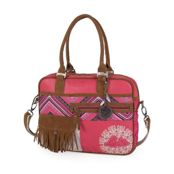 Růžovo-bílá kabelka Lois, 38 x 29 cm